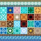 Megareeks Verglaasde keramische tegels met kleurrijke grenzen royalty-vrije illustratie