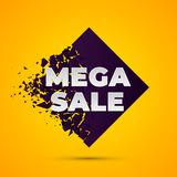 Megaverkoop Abstracte banner met explosieeffect vector illustratie
