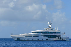 Megayacht in channel in BVI Royalty Free Stock Photography