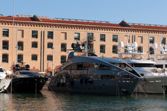 Megayachts in port of Genoa Royalty Free Stock Photo
