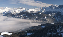 Megeve 2010 (2). Panoramic view from top of Megeve looking down into Chamonix valley, Megeve, France Stock Photo