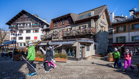 Megeve, Frankrijk - Skiërs royalty-vrije stock foto