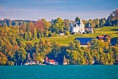 Meggenhorn Castle and idyllic lake Luzern landscape view royalty free stock photo