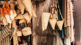 Meghalaya handicrafts art and crafts made with cane and bamboo products. Bamboo Cane work, Stools, Baskets, fishing traps, royalty free stock image