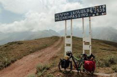 Meghri Pass with a bike for biketouring in the mountains of Armenia royalty free stock image
