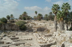 Megiddo, Israel. Excavations at Tel Megiddo, Israel at head of Jezreel Valley, site of future Biblical Battle of Armageddon foretold in Book of Revelation Stock Photography