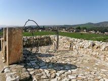 Megiddo - la città del vagone per il trasporto dei lingotti di Solomonic, stalle, Israele fotografia stock libera da diritti