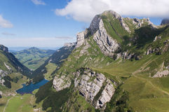 Meglis alp and Lake Seealp Stock Image