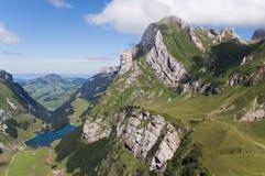 Meglis Alpe und See Seealp Stockbild