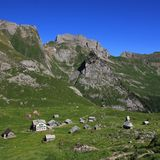 Meglisalp, place high up in the mountains Stock Photos