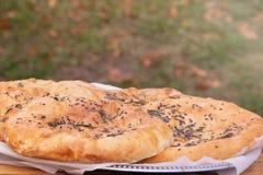 Megruli georgiano del khachapuri de la cocina con queso y especias imagenes de archivo