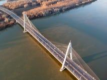 Megyeri桥梁空中照片在布达佩斯 免版税库存图片