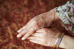 Mehandi. Picture mehandi on the hand of girl Royalty Free Stock Images