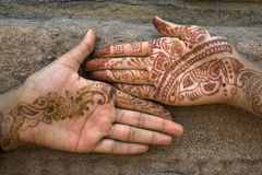 Mehandi Art on Palm. Mehandi art, painting on hand and feet with juice of a herb, is very common throughout India Royalty Free Stock Photo