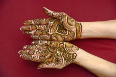 Mehandi. Beautifully decorated indian hands with mehandi typically done for weddings Royalty Free Stock Image