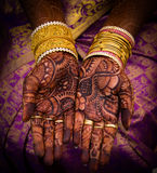 Mehandi. Hand decorated with colorful mehandi Royalty Free Stock Images