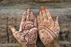 Mehandi painted on Palms. Mehandi art, painting on hand and feet with juice of a herb, is very common throughout India Stock Photography