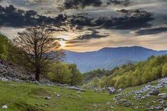 Mehedinti Mountains. Spring sunset in Mehedinti Mountains Stock Image