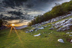 Mehedinti Mountains. Spring sunset in Mehedinti Mountains Stock Photo