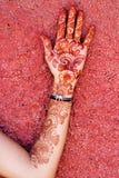 Mehendi art or Heena Tattoo on the hand Stock Photos