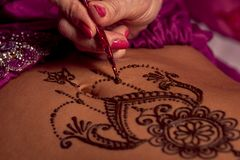 Mehendi artist paints an ornament of henna on an eastern beautiful girl's stomach Royalty Free Stock Image