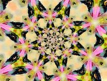 Mehendi colorful watercolor kaleidoscope circular background with stars Stock Photo