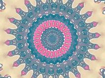 Mehendi colorful watercolor kaleidoscope circular background with stars Royalty Free Stock Photo