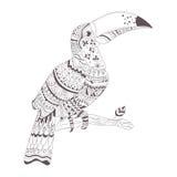 Mehendi da hena, esboço da tatuagem Toucan Fotos de Stock Royalty Free