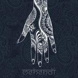 Mehendi drawing on woman`s hand Stock Photo