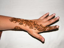 Mehendi on Hand. The Art of applying Henna / Mehendi Stock Image