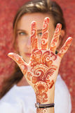 Mehendi on the hand of pretty girl Stock Image