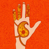 Mehendi hand. Vector illustration of hand with mehendi ornament Stock Photos