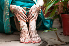 Mehendi heena on feet. Royalty Free Stock Photos