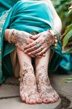 Mehendi heena on feet. Stock Images