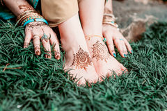 Mehendi heena on feet. Royalty Free Stock Image