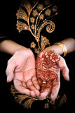 Mehendi, henna on bride's hand - Color 02. Traditional art form in many Indian ans Arab countries Royalty Free Stock Photography
