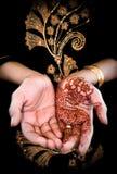 Mehendi, Hennastrauch auf Hand der Braut - Farbe 02 stock abbildung