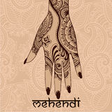 Mehendi. Illustration with mehendi drawing on woman`s hand Stock Photography