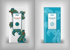 Mehendi packaging design massage oils. Packaging design massage oils, cosmetics, mehndi vector pattern,  ethnic paisley buta hindu oriental ornament, curl Royalty Free Stock Images