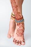 Mehendi painted on legs Royalty Free Stock Images