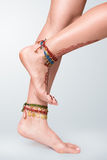 Mehendi painted on legs Royalty Free Stock Photography