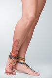 Mehendi painted on legs Royalty Free Stock Photos