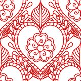 Mehendi seamless pattern of red lines on a white background. Boho Indian style ornament tattoo. vector illustration