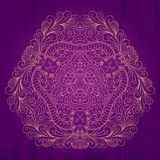 Mehendi tracery card, handmade, purple and gold Stock Photo