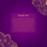 Mehendi tracery card, handmade, purple and gold Royalty Free Stock Image