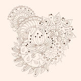 Mehendi tracery  hindi handmade drawing Royalty Free Stock Photo