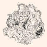 Mehendi tracery  hindi handmade drawing Royalty Free Stock Image