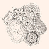Mehendi tracery isolated hindi handmade drawing Stock Photography