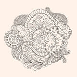 Mehendi tracery isolated hindi handmade drawing Stock Images