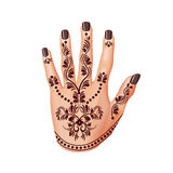 Mehendi on woman hand  vector. Mehendi on woman hand  photo-realistic vector illustration Royalty Free Stock Photo